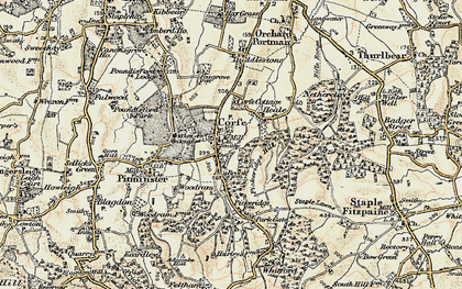 Old map of Corfe in 1898-1900