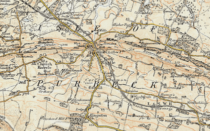Old map of Corfe Castle in 1899-1909