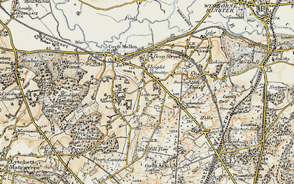 Old map of Corfe Mullen in 1897-1909