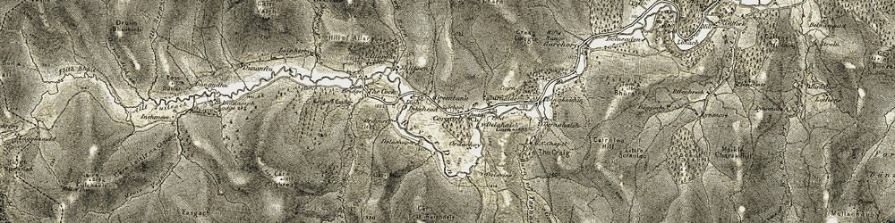 Old map of Allt Damh in 1908