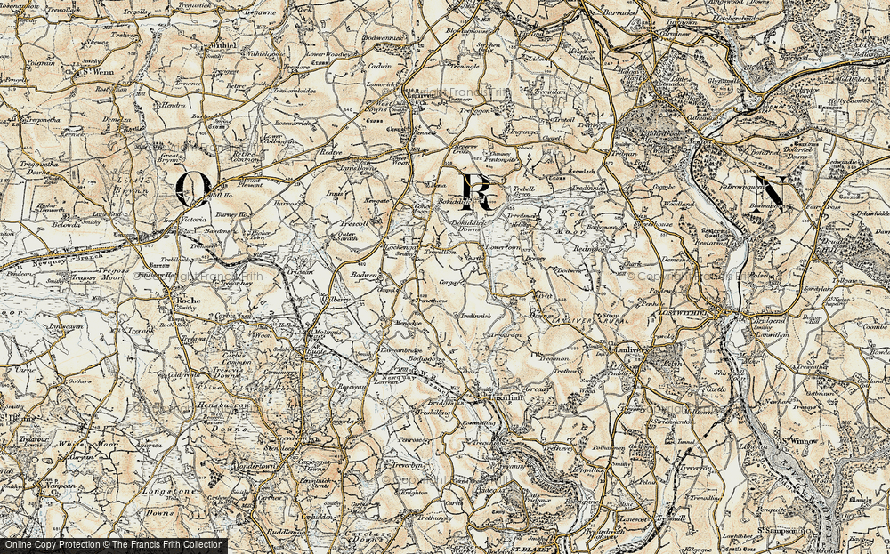 Old Map of Historic Map covering Cornwall in 1900
