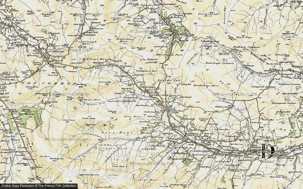 Old Map of Cornriggs, 1901-1904 in 1901-1904