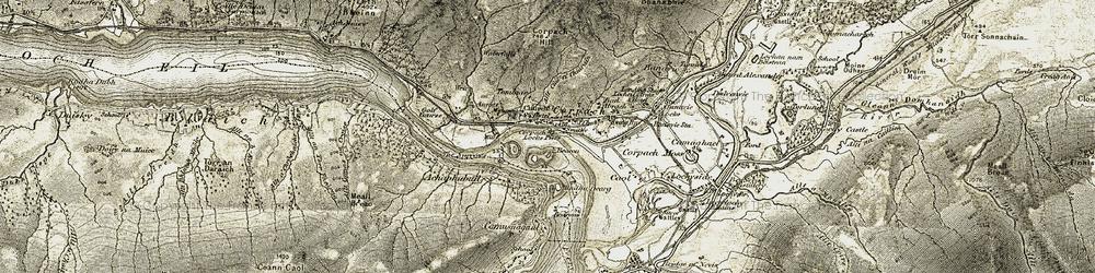 Old map of Allt Cùil a' Chiarain in 1906-1908
