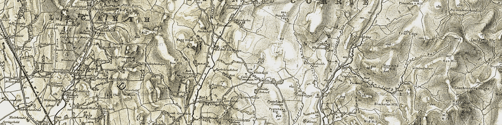 Old map of Whitcastles Hill in 1901-1904