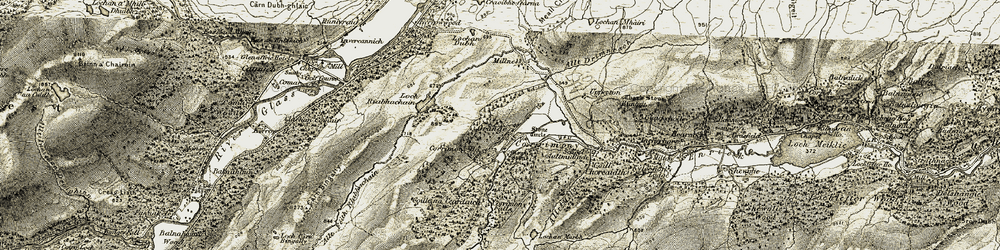 Old map of Allt Glac na Doimhne in 1908-1912