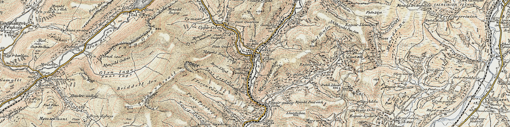 Old map of Corris in 1902-1903