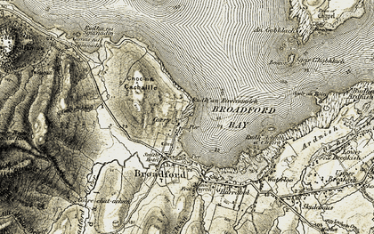 Old map of Allt an t-Sabhail in 1906-1909