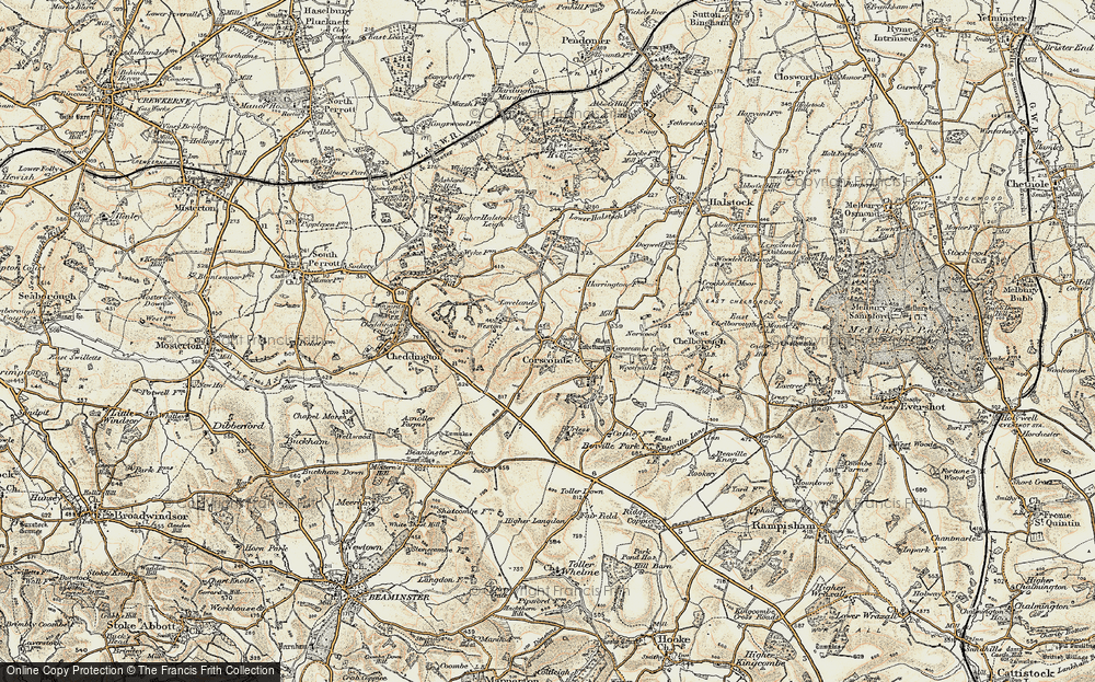 Old Map of Historic Map covering Wood Fold Hill in 1899