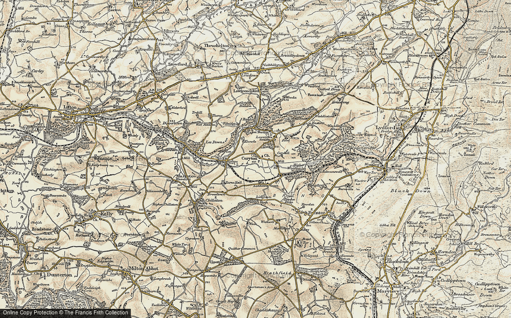 Old Map of Historic Map covering Lee Downs in 1899-1900