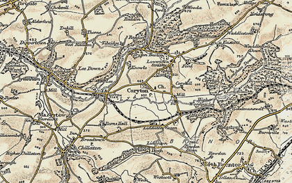 Old map of Lee Downs in 1899-1900