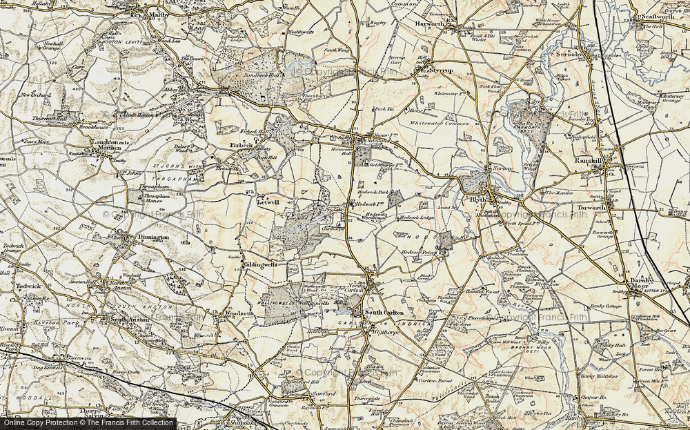 Old Map of Historic Map covering Langold Country Park in 1903