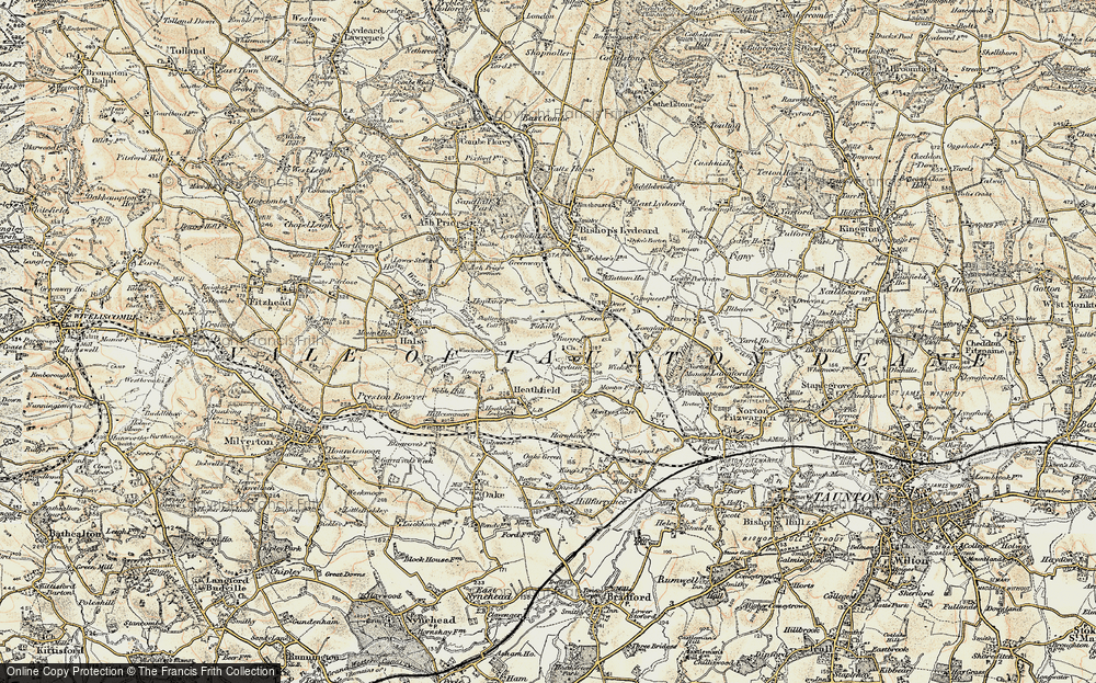 Old Map of Historic Map covering Tone Vale in 1898-1900