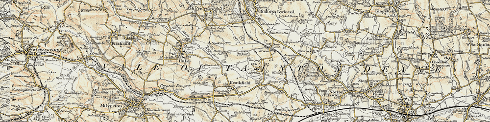 Old map of Tone Vale in 1898-1900