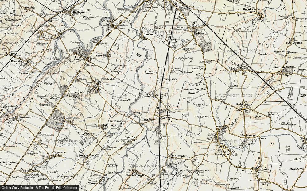 Old Map of Historic Map covering Balderton Grange in 1902-1903