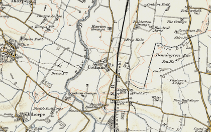 Old map of Balderton Grange in 1902-1903