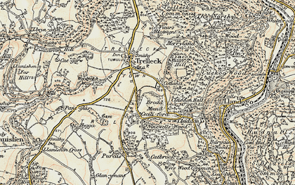 Old map of Trelleck Cross in 1899-1900