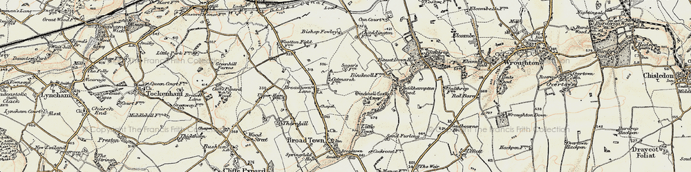 Old map of Wootton Meadows in 1898-1899