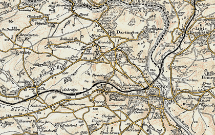 Old map of Yarner Beacon in 1899