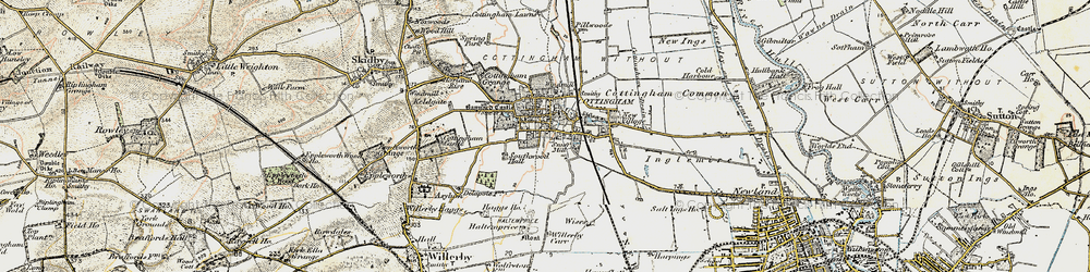Old map of Cottingham in 1903-1908