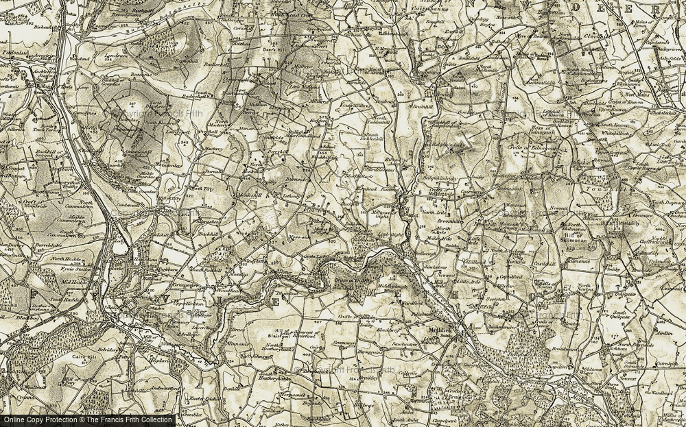 Old Map of Historic Map covering Badiebath Wood in 1909-1910