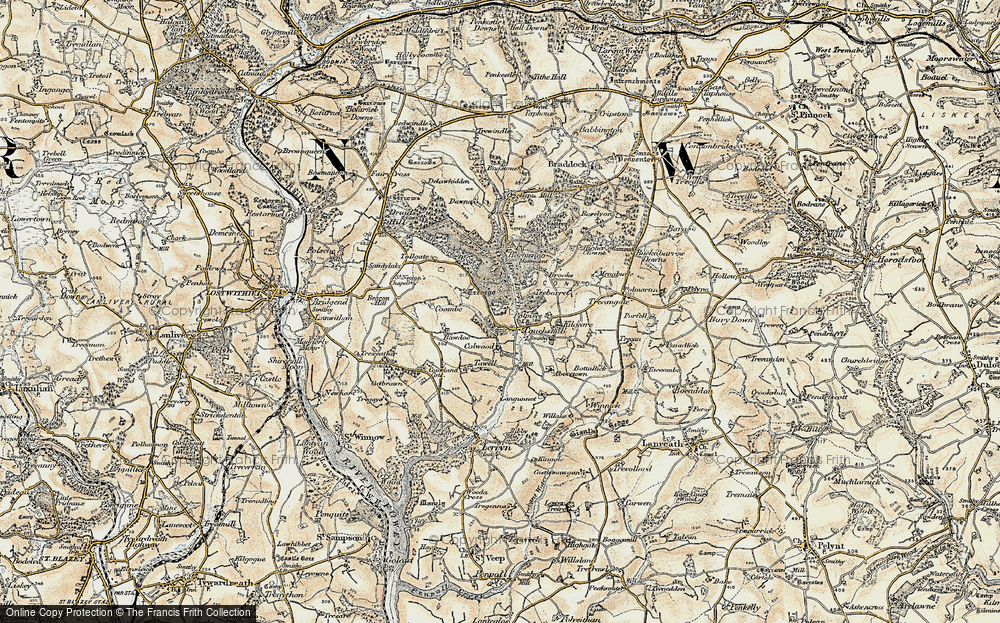 Old Map of Historic Map covering Abovetown in 1900