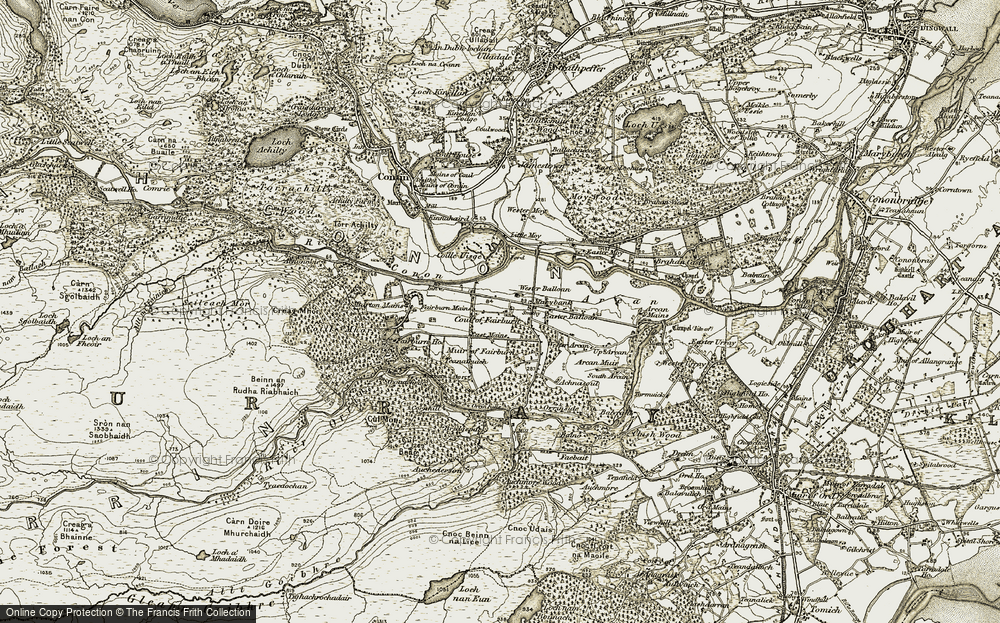 Old Map of Historic Map covering Aultgowrie in 1908-1912