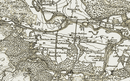 Old map of Aultgowrie in 1908-1912