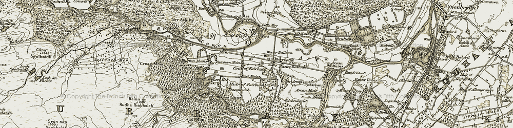 Old map of Wester Balloan in 1908-1912