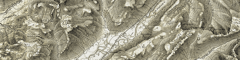 Old map of Alltan Glas in 1908-1909