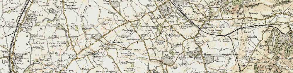 Old map of Coulby Newham in 1903-1904