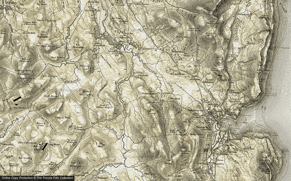 Old Map of Historic Map covering Leachd in 1908-1909