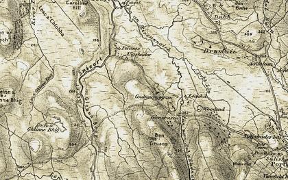 Old map of Leachd in 1908-1909