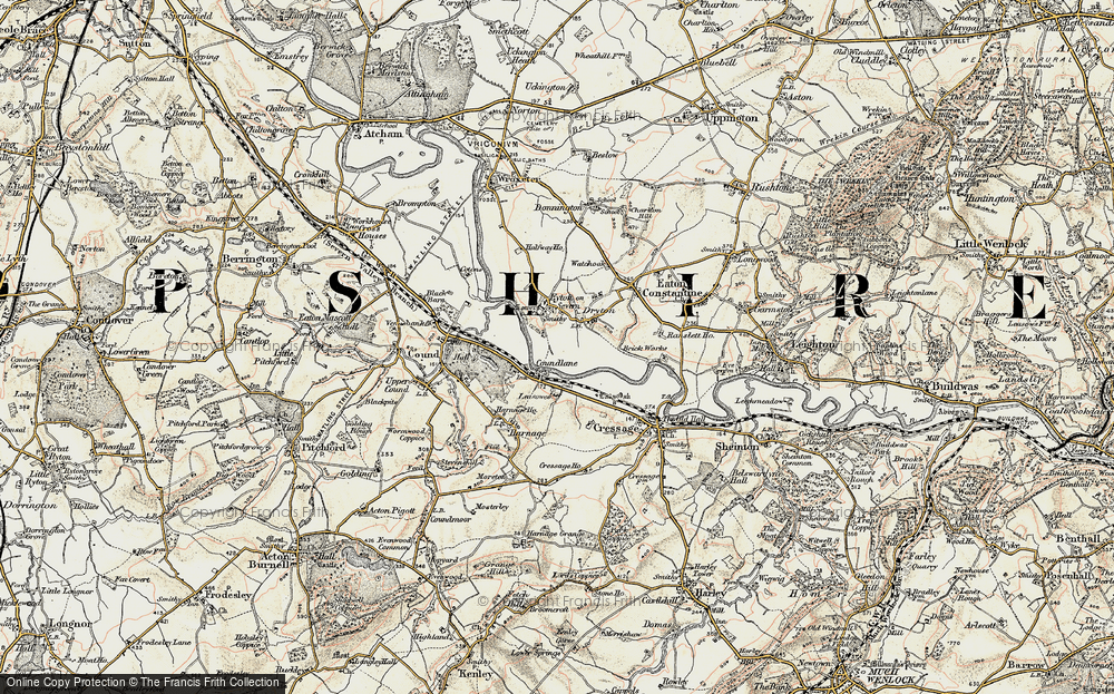 Old Map of Historic Map covering Leasowes in 1902
