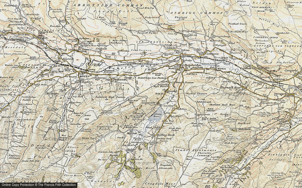 Old Map of Historic Map covering Bainbridge High Pasture in 1903-1904