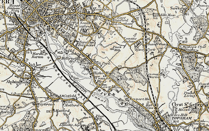 Old map of Countess Wear in 1899