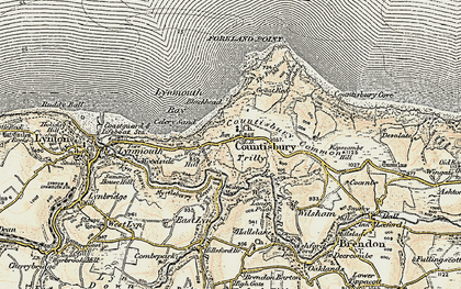 Old map of Countisbury in 1900