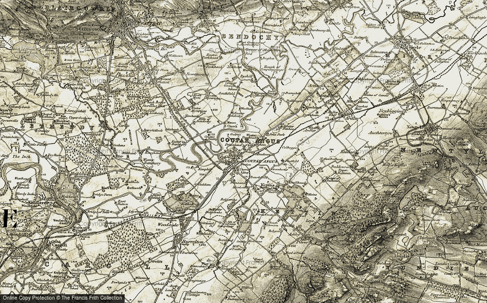 Old Map of Historic Map covering Larghan in 1907-1908