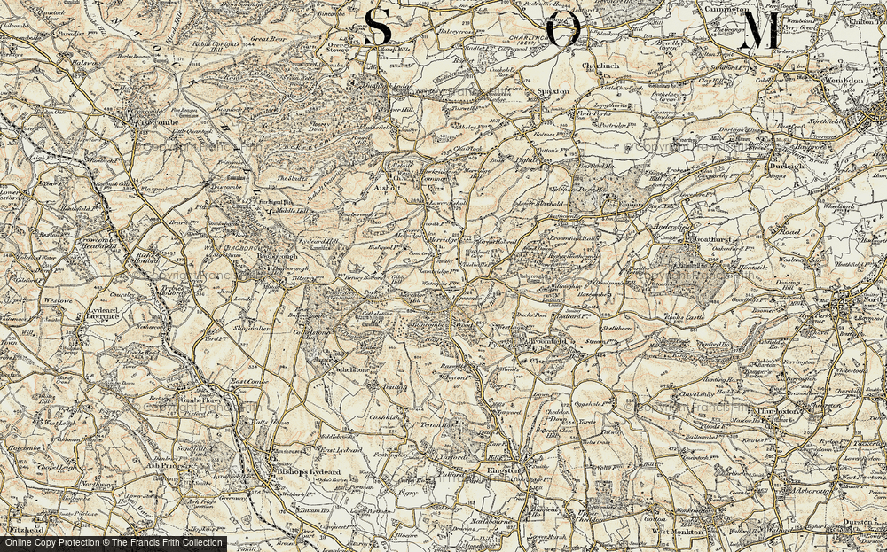 Old Map of Historic Map covering Timbercombe in 1898-1900