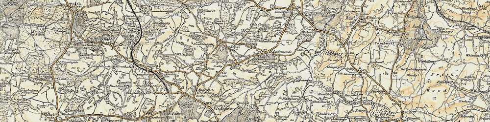 Old map of Cousley Wood in 1898
