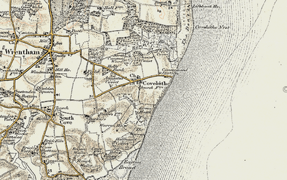 Old map of Covehithe in 1901-1902