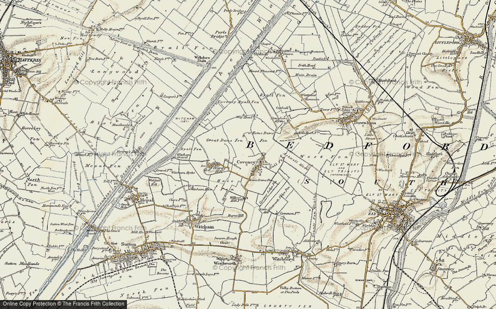 Old Map of Historic Map covering Ashwell Moor in 1901