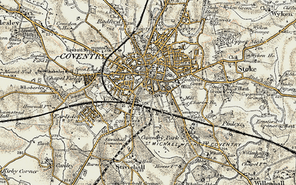 Old map of Coventry in 1901-1902