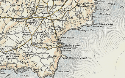 Old map of Coverack in 1900