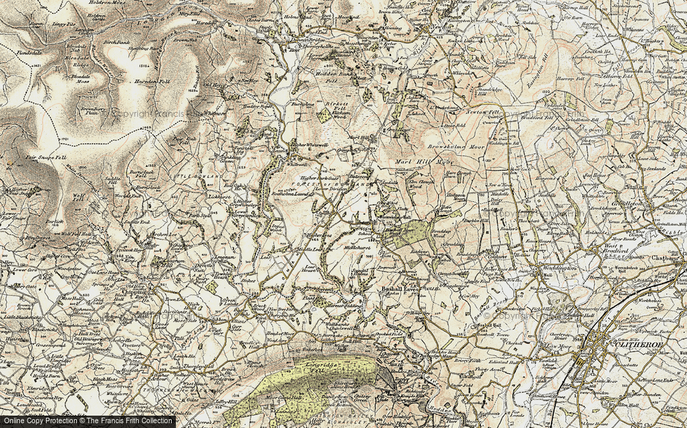 Old Map of Historic Map covering Lees Ho in 1903-1904