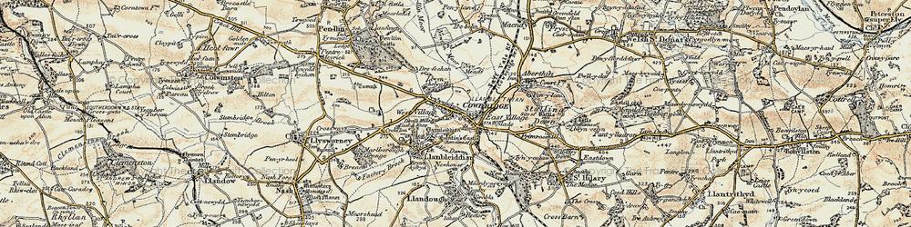 Old map of Cowbridge in 1899-1900