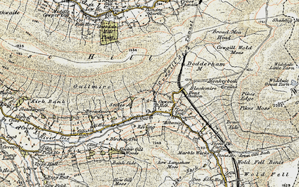 Old map of Wry Gill in 1903-1904