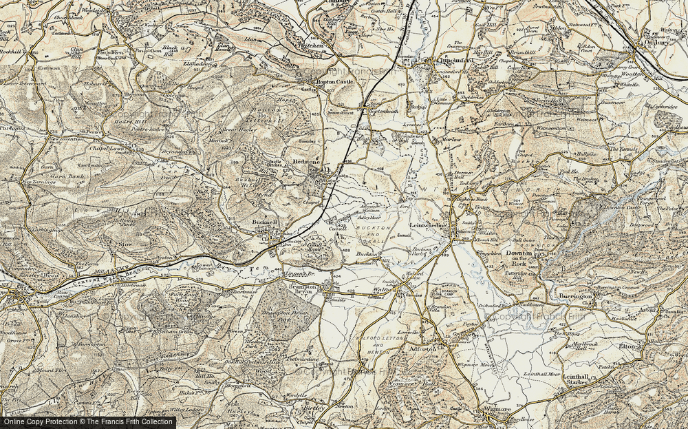 Old Map of Historic Map covering Adley Moor in 1901-1903