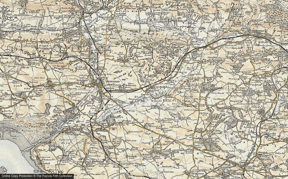 Old Map of Coychurch, 1899-1900 in 1899-1900