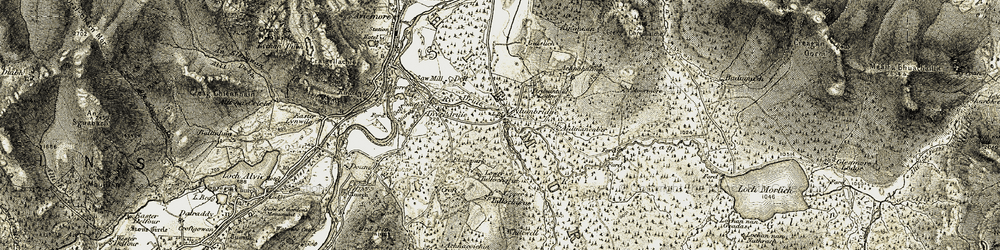 Old map of Achnagoichan in 1908