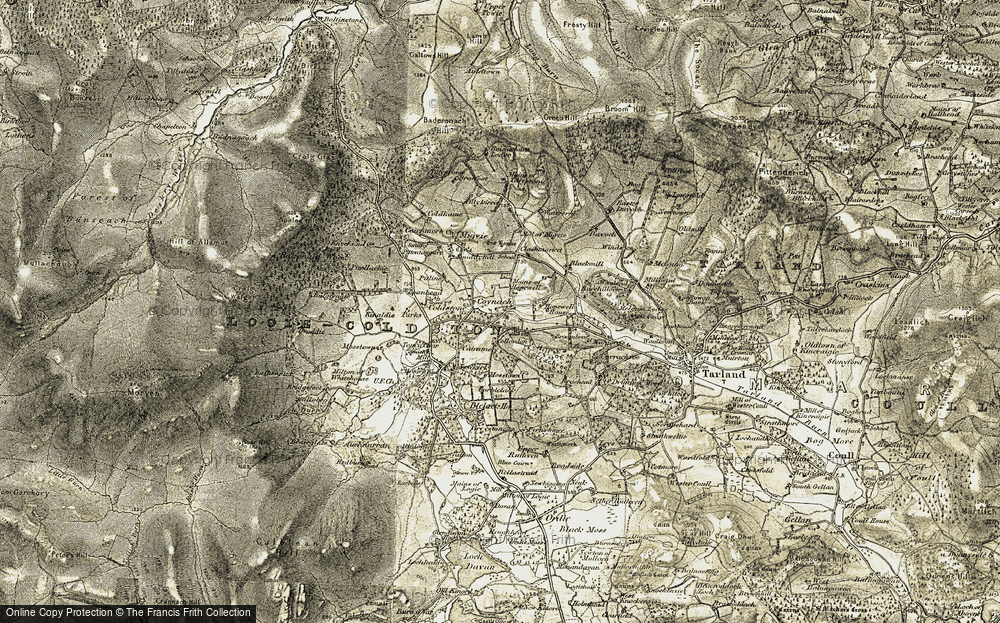 Old Map of Historic Map covering Barehillock in 1908-1909